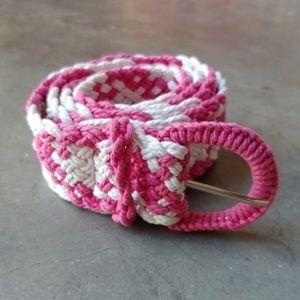 Vintage Pink and White Macrame Belt